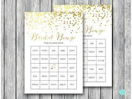 wedding words for bingo gold confetti bridal shower gold foil magical printable