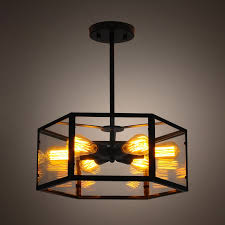 industrial semi flush mount lighting industrial 6 light glass hexagon iron frame semi flush ceiling light