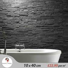 Bathroom Wall Cladding Materials by Black Slate Split Face Cladding Mosaic Tiles For Walls 23 95 M2
