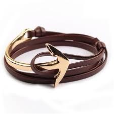anchor leather bracelet man images Tom hope new arrival fashion jewelry pu leather bracelet men half jpg