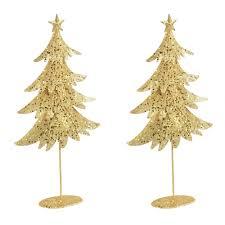 White Metal Christmas Tree Decorations by 18 U201d Glittery Metal Christmas Tree Decor Set Of 2 Christmas Tree