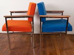 Vintage Mid Century Modern Chrome And Walnut Office Chairs For - Midcentury modern furniture dallas
