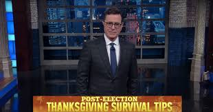 stephen colbert thanksgiving survival tips offered on late show