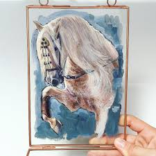 white horse painting horse art vintage glass hanging frame horse oil painting