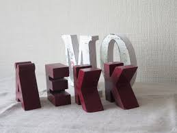 set of 6 wood letters for home decor wood alphabet for craft