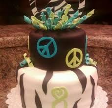peace sign zebra stripe birthday cake birthday cake cake ideas