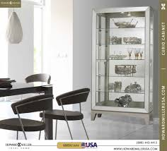 680592 howard miller platinum modern curio cabinet sliding door