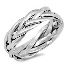 braided band 6mm twisted rope braided band ring men women unisex band ring