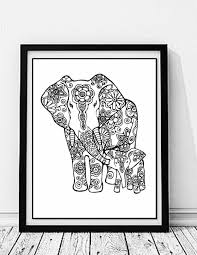 elephant mom and baby coloring page to print and color