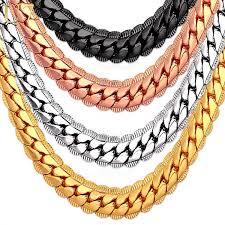 gold color necklace images U7 necklace choker long 9mm 6mm vintage punk black silver gold jpeg