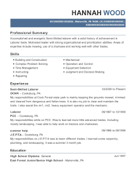 exle of a high school resume dcnr semi skilled laborer resume sle pennsylvania