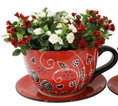 red u0026 black hand painted large ceramic tea cup u0026 saucer pot