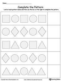 pattern math worksheets preschool early childhood math worksheets shape patterns math and worksheets