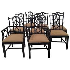 chinese chippendale dining chairs vintage set of ten 10 fretwork