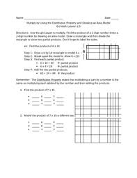 go math 2 5 distributive property area model worksheet by susiequsie