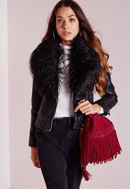 missguided faux leather biker jacket with mongolian collar black