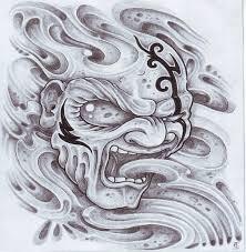 grey ink biomech demon tattoo design by viking tattoo