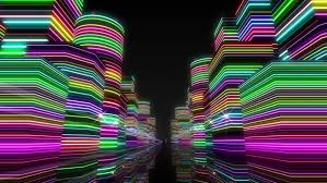 city neon lights stock footage 6475769