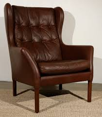 furniture charming leather wingback chair in brown with tufted on