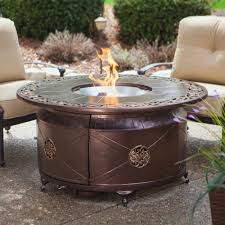 Outdoor Gas Fire Pit Propane Gas Fire Pit Fire Bowl Round Table Glass Beads Patio Deck