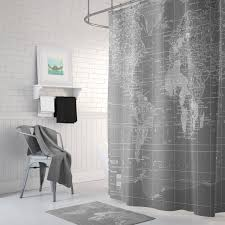 gray world map shower curtain gray and white home decor travel