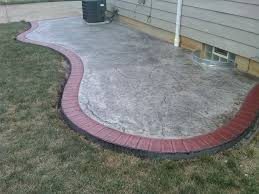 Stamped Concrete Patio Maintenance Seamless Slate Stamped Patio W Tile Red Brick Border Light Grey