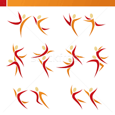 abstract human couple in action vector logo template set eleme