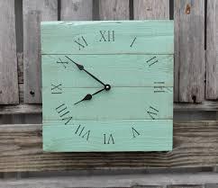 sea foam green pallet clock wood wall clock shabby chic
