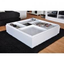 table basse carrée brazil 100x100cm blanc laqué