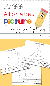 free alphabet u0026 picture tracing printables totschooling