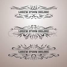 vintage decor elements vector set wicker lines calligraphic
