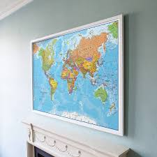 Etsy Maps World Map Framed Art Print Decoration With Frames