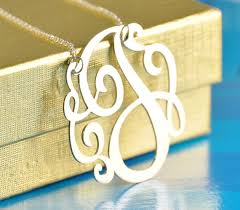 monogram initials necklace sterling silver initial 1 25 size with a chain initials