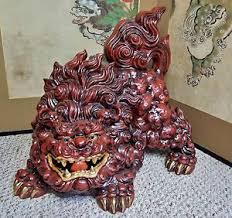 kutani shishi monumental antique japanese kutani shishi dog okimono foo