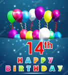Image result for 14th birthday balloons