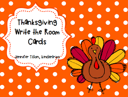 kindertrips thanksgiving write the room cards freebie