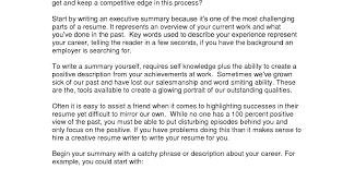 resume executive summary resume examples awesome resume