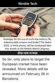 Nokia Brick Meme - nimble tech nostalgic for the era of multi day battery life