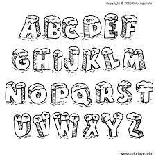 coloriage alphabet noel lettres avec neige dessin