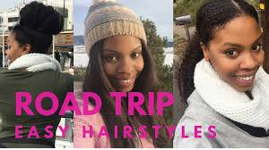 black girls travel effortlessly change hairstyles on a road trips