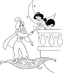Coloriage Aladdin et son tapis volant avec Jasmine à imprimer