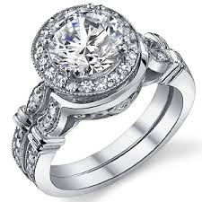 halo wedding ring forever one moissanite antique halo wedding ring set
