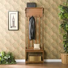 modern oak hall tree entry bench with hanger and storage bench