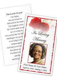 Funeral Card Template Red Rose Prayer Card Template Funeral Card
