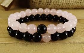 black bracelet pink images 2pc set fashion bracelet natural stone 8mm pink crystal black onyx jpg