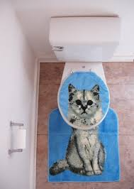 kitty kitten cat toilet seat cover with rug amazing