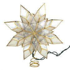 Capiz Star Gold Christmas Tree Topper Light Set Warm White 9