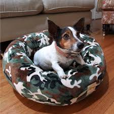 Camo Dog Bed Camouflage Velour Donut Dog Bed