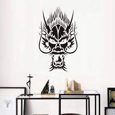 compare prices on oriental wall mural online shopping buy low free shipping popular home decor oriental chinese dragon head wall sticker black removable pvc hollow out