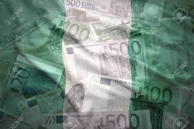 Nigerian Flag Colorful Waving Nigerian Flag On A Euro Money Background Stock